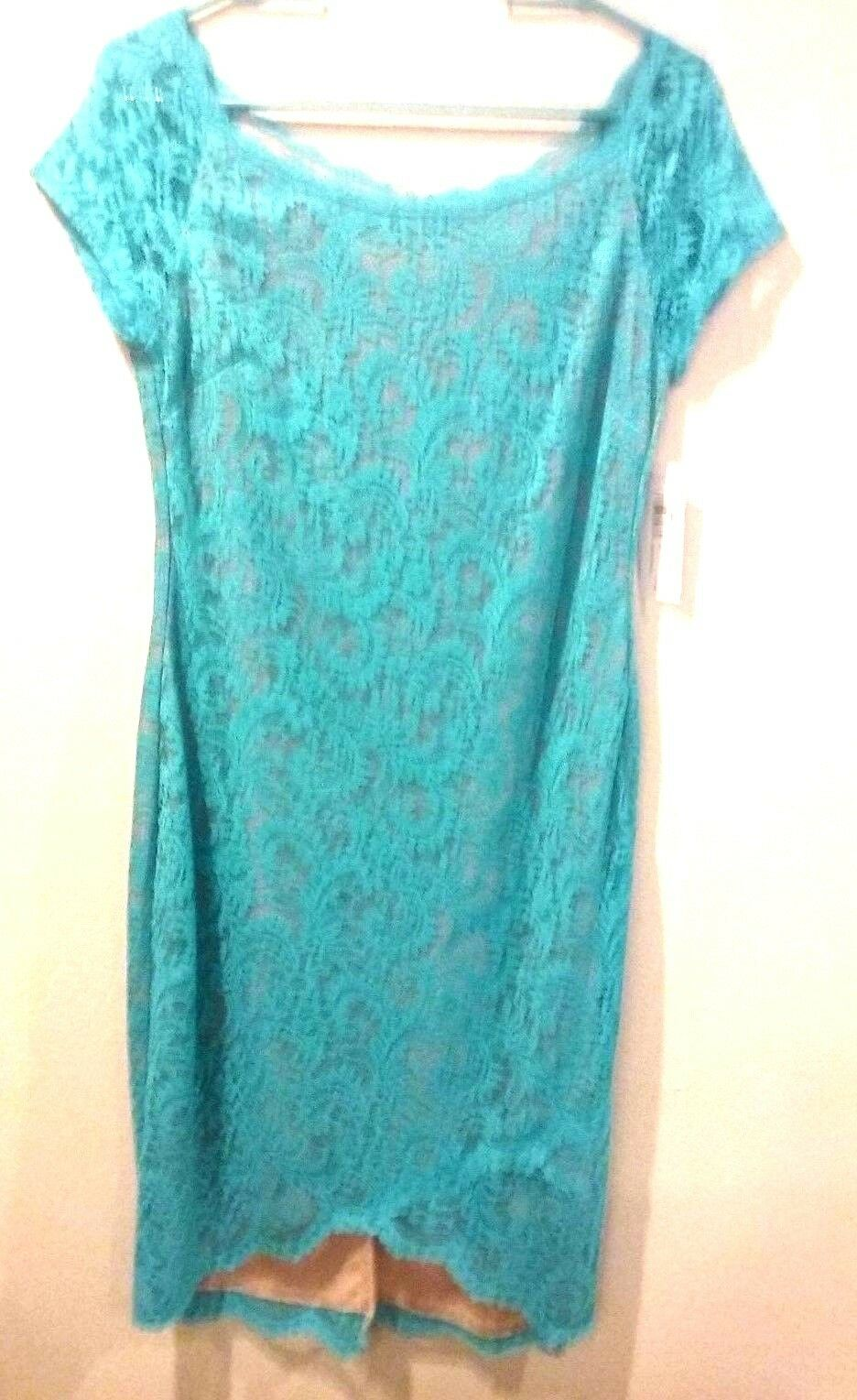 BISOU BISOU WOMANS DRESS LACE blueE JADE ON NUDE SZ 12 NEW TAGS SHORT SLEEVE