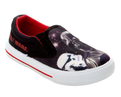 BOYS STAR WARS DARTH VADER CANVAS SLIP ON PUMPS TRAINERS SHOES KIDS UK SIZE 7-1