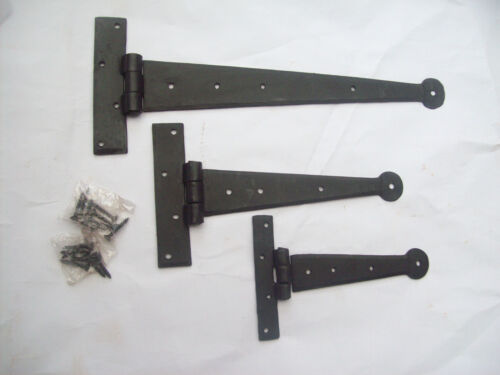 1 pair BLACKSMITH HAND FORGED IRON BEESWAX DOOR CABINET GATE TEE T HINGES