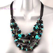 Gen Green Blue Turquoise, Onyx Semi Precious Stone Multi Strand Feature Necklace