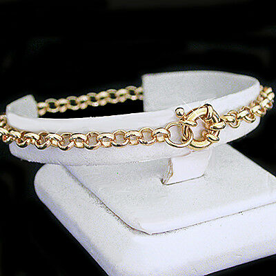 """ALL SIZES 7""""-9"""" 4.5mm BELCHER Link BOLT RING Clasp Gold Layered BRACELET 
