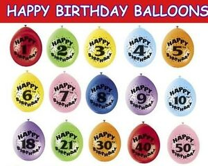 """HAPPY BIRTHDAY BALLOONS 12"""" AIR FILL AGE 1-50 MIXED COLOURS PACKS OF 10"""