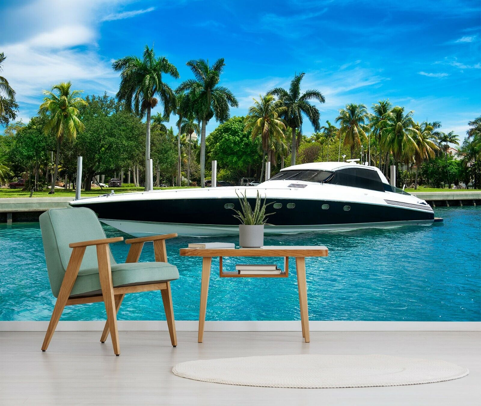 3D Luxury Yachts R32 Transport WandPapier Mural Sefl-adhesive Removable Zoe