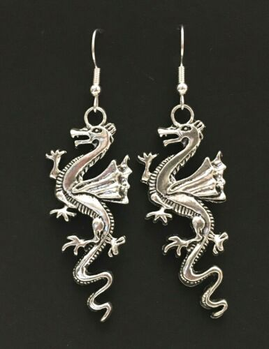 Dragon Silver coloured dangle earrings Welsh, Mythical