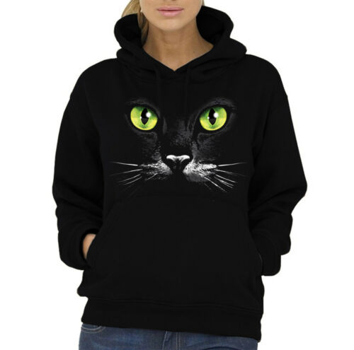 Velocitee Ladies Hoodie Yellow Cat Eyes Face A7268