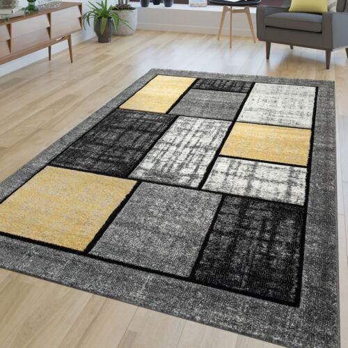 Kurzflor Wohnzimmer Teppich Gelb Grau Weiß Modernes Grafik Muster