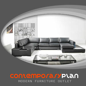 Details about Modern Black Italian Leather Sectional Sofa w Built in Light  and Table, Modern