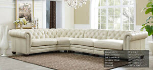 Fine Details About New Chesterfield 4 Part Sectional Sofa Top Grain Creamy Ivory Leather Rh Style Interior Design Ideas Helimdqseriescom