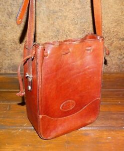 Brown Leather Messenger Handbag Purse