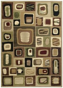 Abstract Brown Patchwork 8x11 Area Rug Squares Carpet