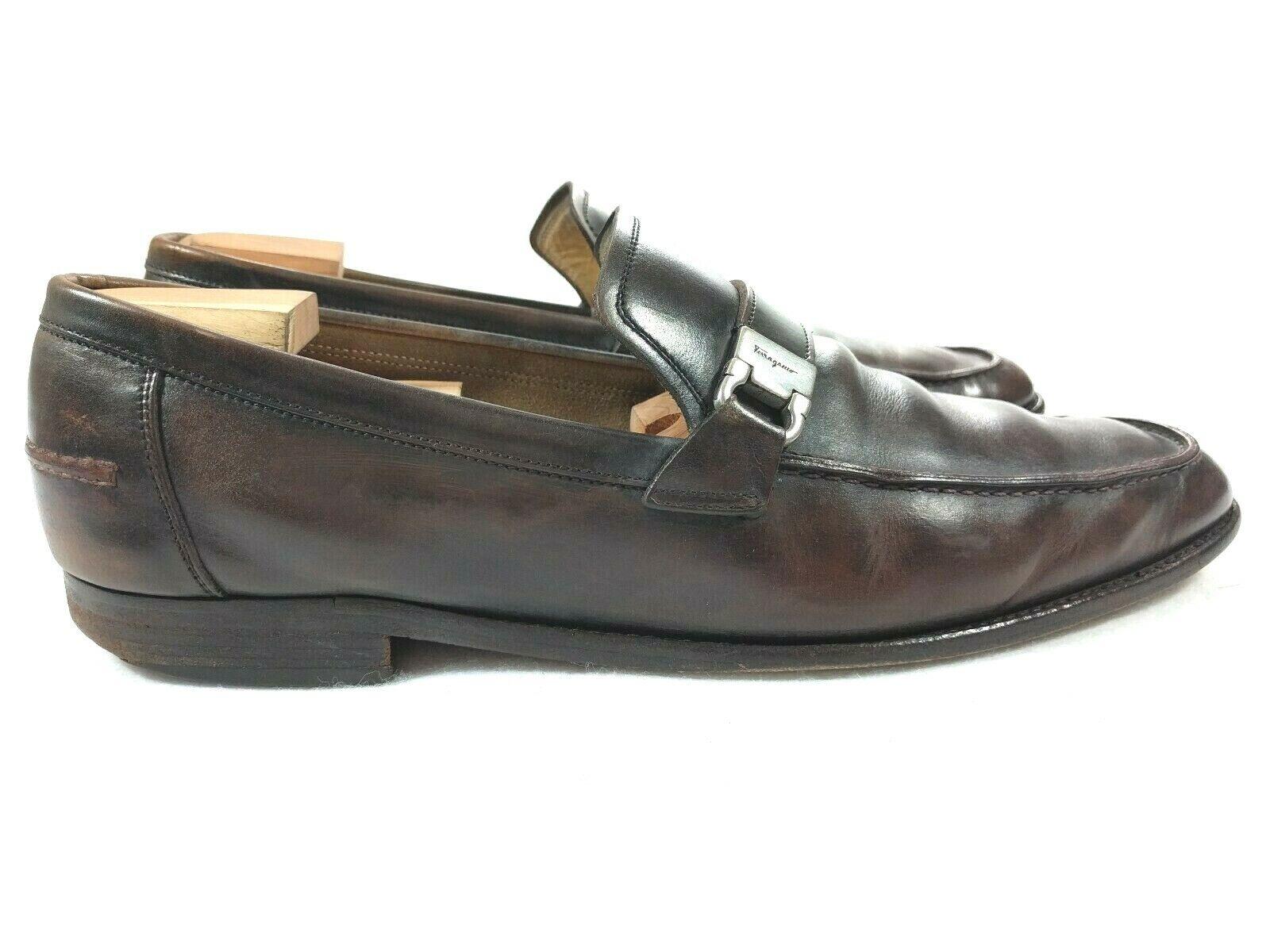 Ferragamo  Italia Mens Marronee Dress Lofers Strap Buckle scarpe 11.5  a prezzi accessibili