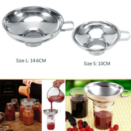 1xTool Kitchen Jam Cup Stainless Steel Hopper Filter Canning Funnel Wide Mouth
