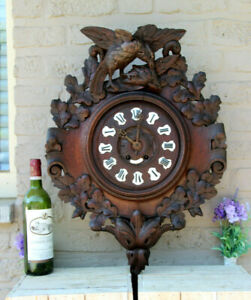 Antique-Swiss-Black-forest-wood-carved-Wall-clock-birds-19thc
