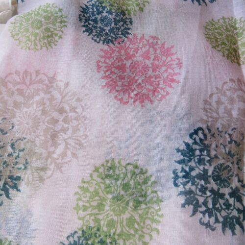 LARGE SUMMER FLORAL PRINT SCARF SHAWL SARONG WRAP Turquoise Aqua or beige NEW