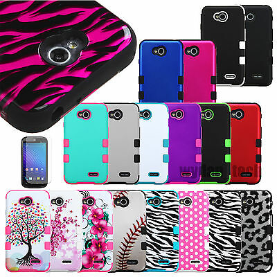 Hybrid Impact Rugged Shockproof Case Hard Skin Cover For LG Optimus Phones +Film