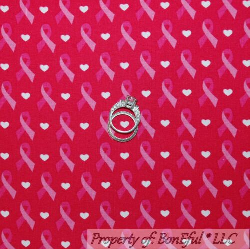 BonEful FABRIC FQ Cotton Quilt Pink White Heart Ribbon Breast Cancer Ribbon Lady