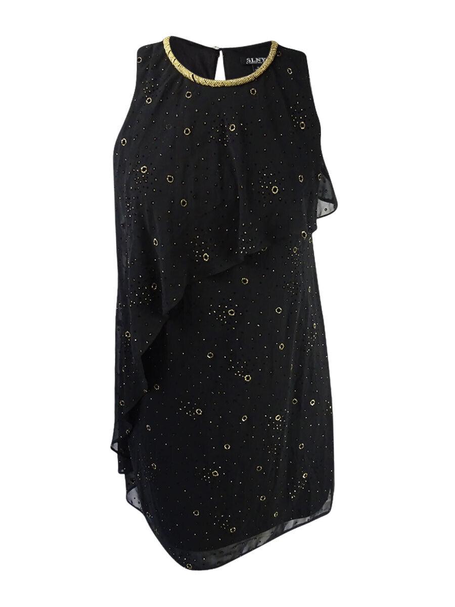 SL Fashions Woherren Embellished Glitter Flyaway Dress (8, schwarz Gold)