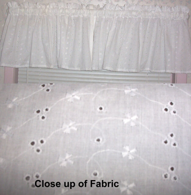 New White Eyelet Valances Curtains Window Cover Valance Kitchen Bedroom Nursery