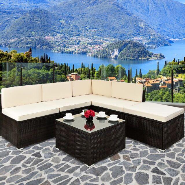 Poly Rattan Sofa Table Set Garden Furniture Corner Outdoor Conservatory Brown