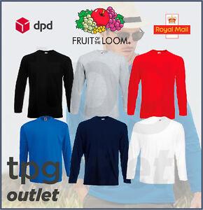 Fruit-Of-The-Loom-Mens-Long-Sleeve-T-Shirt-Plain-T-Shirt-Cotton-Tee-Shirt-Lot