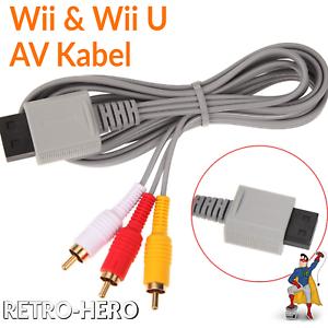 Nintendo-Wii-TV-Kabel-AV-Fernsehkabel-Chinch-3-RCA-Anschluss-fuer-Scart-Wii-U
