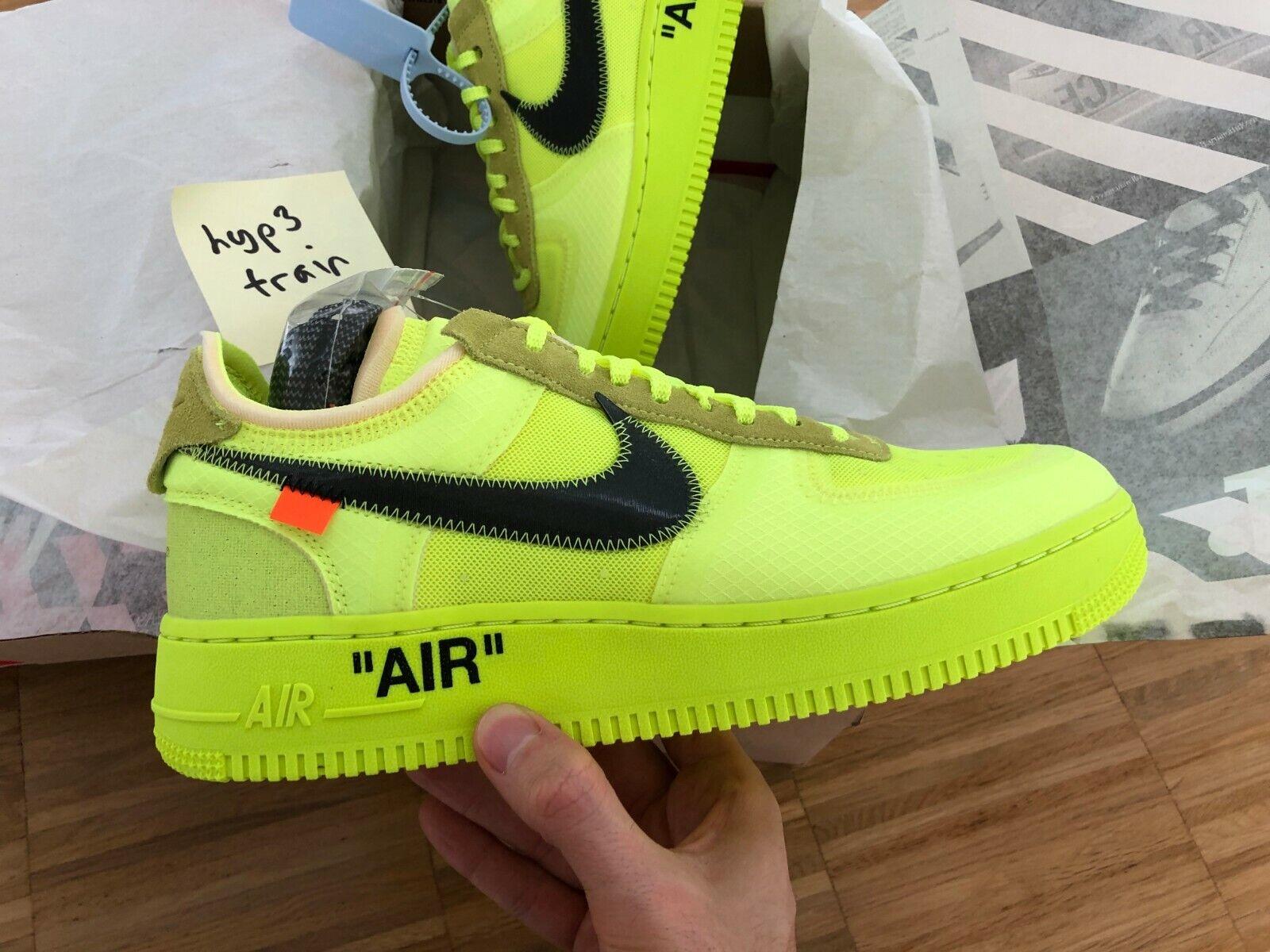 Nike x Off-White Air Force 1  VOLT  US 9.5   EU 43 Virgil Abloh The Ten Black OG
