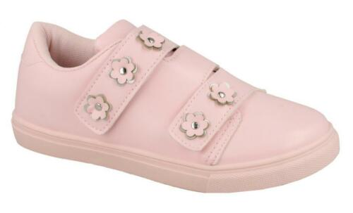 Girls Trainers  3 Riptape Strap Shoe Flower Trim H2R460
