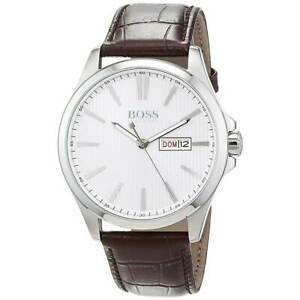 Hugo-Boss-Men-039-s-Watch-The-James-Silver-Tone-Dial-Brown-Leather-Strap-1513532