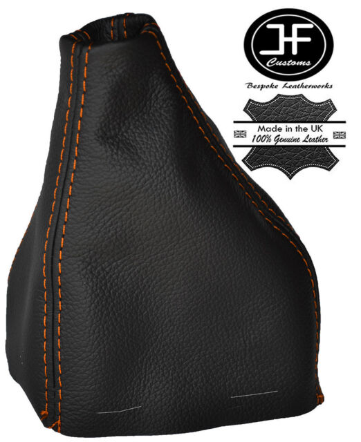 Black stitch manuel cuir gear gaiter fits fiat barchetta 1995-2005