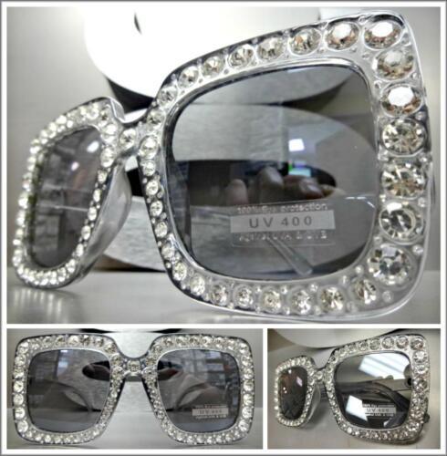 OVERSIZED VINTAGE RETRO Style SUN GLASSES Square Gray Frame Lens Bling Crystals