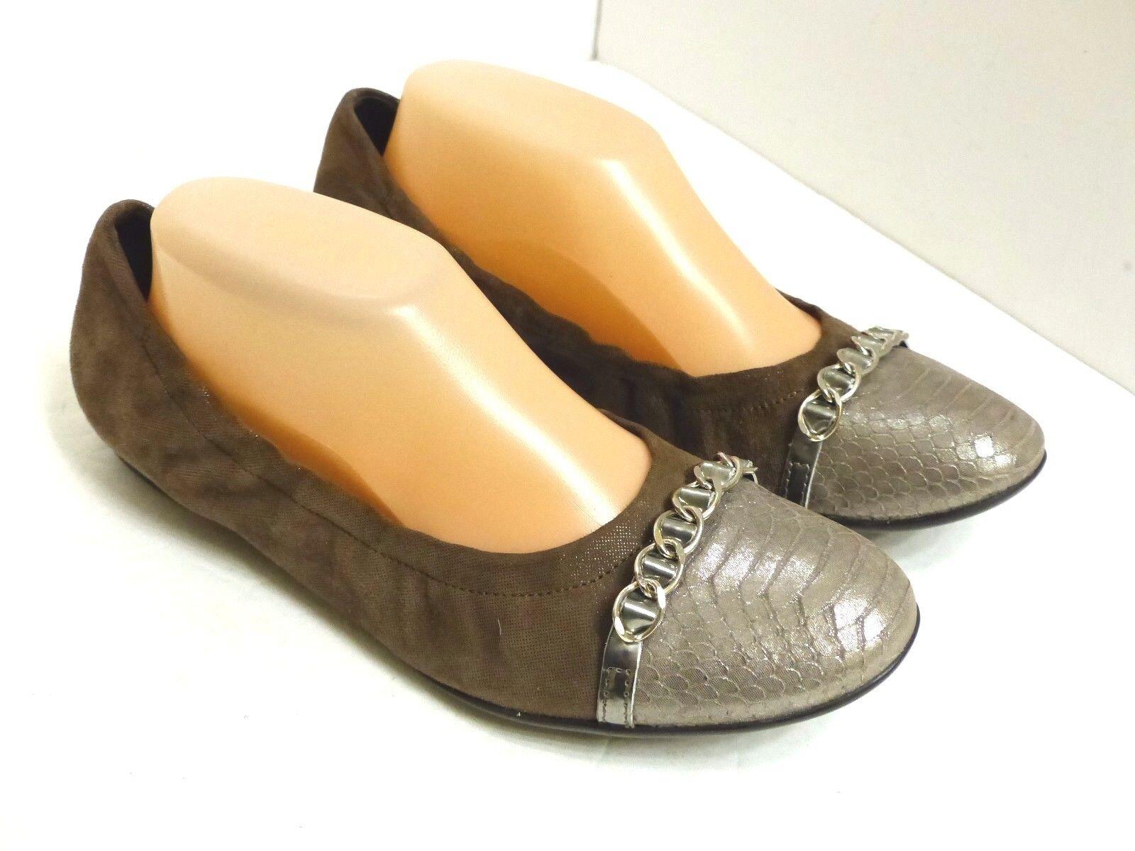 EUC AGL Women's /2 US 10 Light Taupe Silver Reptile Reptile Silver Cap Toe Ballet Flats 172ece
