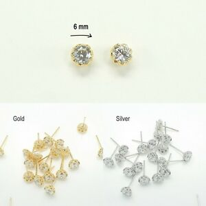 Image Is Loading Earring Findings Rhinestone Glossy Stud Jewelry Making