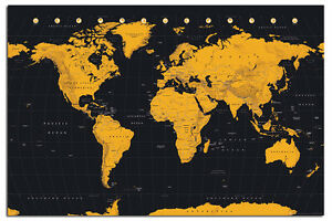 World map in black gold large poster new maxi size 36 x 24 inch image is loading world map in black amp gold large poster gumiabroncs Gallery