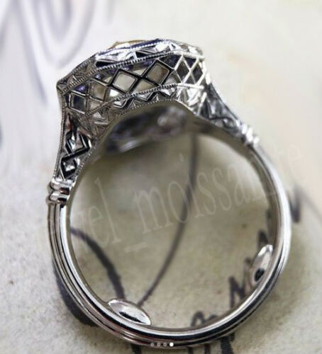 Oval Rose Cut 2.57 Ct Off White Moissanite Sapphire Party 925 Sterling Silver