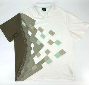 Nike-Golf-Shirt-Men-039-s-2XL-Geometric-Contrast-Performance-Dri-Fit-Athletic-Polo