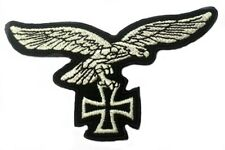 GERMAN LUFTWAFFE SILVER EAGLE IRON CROSS PATCH WW2 STYLE NEW REPRO Aufnäher