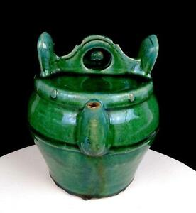 """CHINESE SHIWAN POTTERY GREEN QING DYNASTY 7 5/8"""" WATER BUCKET TEAPOT 1890's"""