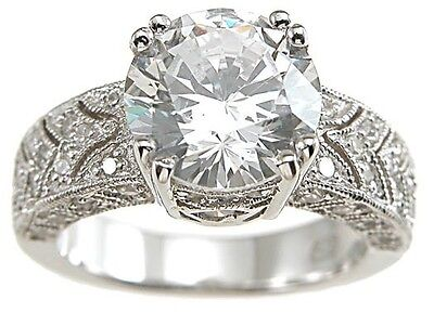 3 CARAT .925 STERLING SILVER VINTAGE STYLE WEDDING ENGAGEMENT RING SIZ 5 6 7 8 9