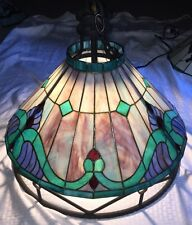 Vintage Stained Glass Wrought Iron Applebee's Light Fixture Chandelier Lamp