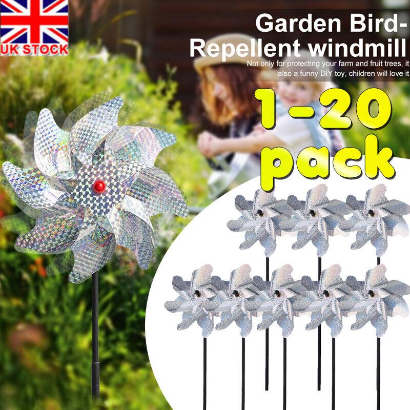 Bird Repellent Pinwheels Bird Deterrent for Garden Reflective Sparkly Pin Wheels