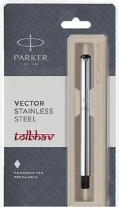 Parker-Vector-Steel-SS-CT-Chrome-Trim-Fountain-Ink-Pen-FP-Fine-Nib-New-Convertor