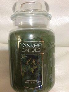 Yankee-Candle-Mistletoe-Large-Jar-22oz-NEW-Free-Shipping-Green-Holiday-Christmas