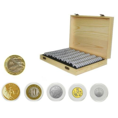 Wooden Coins Display Storage Box Case+50 Grids Round Slab Certified Capsule New