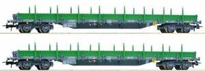 Roco-67081-H0-2-teiliges-Set-Rungenwagen-Bauart-Res-der-RENFE-Epoche-4-5-Spanien