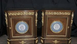 Image Is Loading Pair French Empire Cabinets  Sevres Porcelain Cherub Plaques