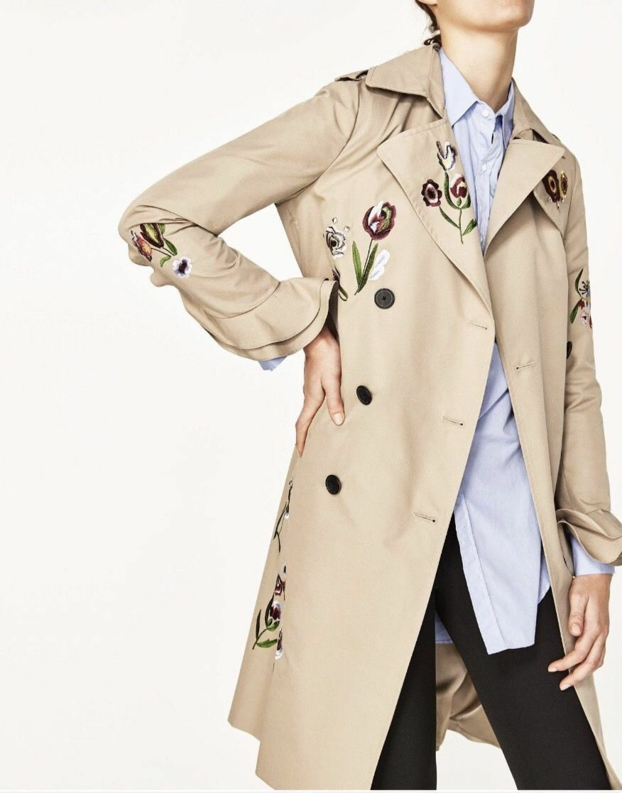 BNWT ZARA SS17 Camel DOUBLE BREASTED EMBROIDERED TRENCH COAT Size S REF 2761 041