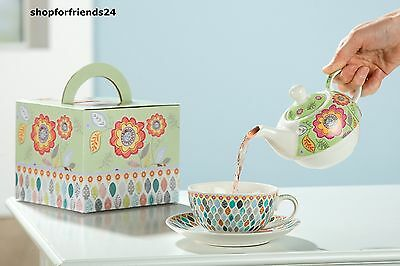 GILDE Teeset Teeservice  Tea for one BLATTWERK Teetasse Teekanne Porzellan NEU