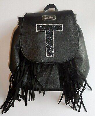 """NWT JUSTICE Girls Black Initial /""""A/"""" Fringe Mini Rucksack Backpack"""