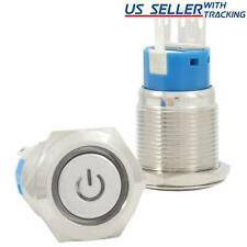 19mm 12v Latching Push Button Power Switch Stainless Steel Blue Led Waterproof