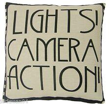 Lleno de luces de cámara de acción película De Carrete de película Negro algodón mezcla Cojín 18 Pulgadas - 45 Cm